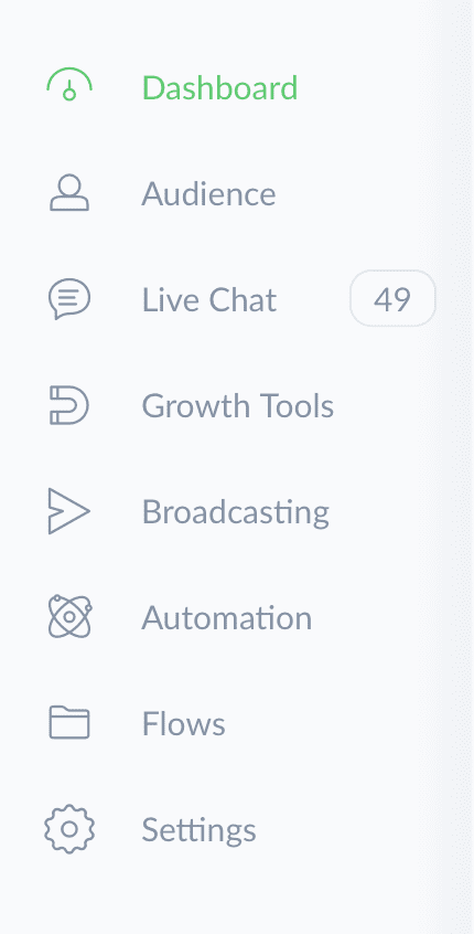 ManyChat Dashboard Menu