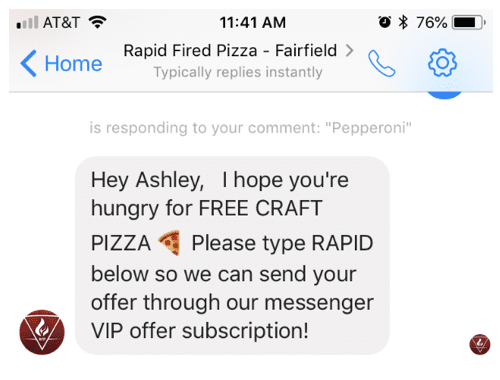 Rapid Fired Pizza Messenger Response | Restaurant Chatbot Example